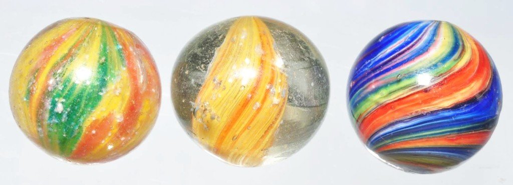21: Lot of 3: Faceted Ground Pontil Onionskin Marbles