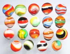 Lot Of 19: Akro Agate Corkscrew Marbles.