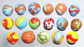 Lot Of 17: Christensen Agate Swirl Marbles.