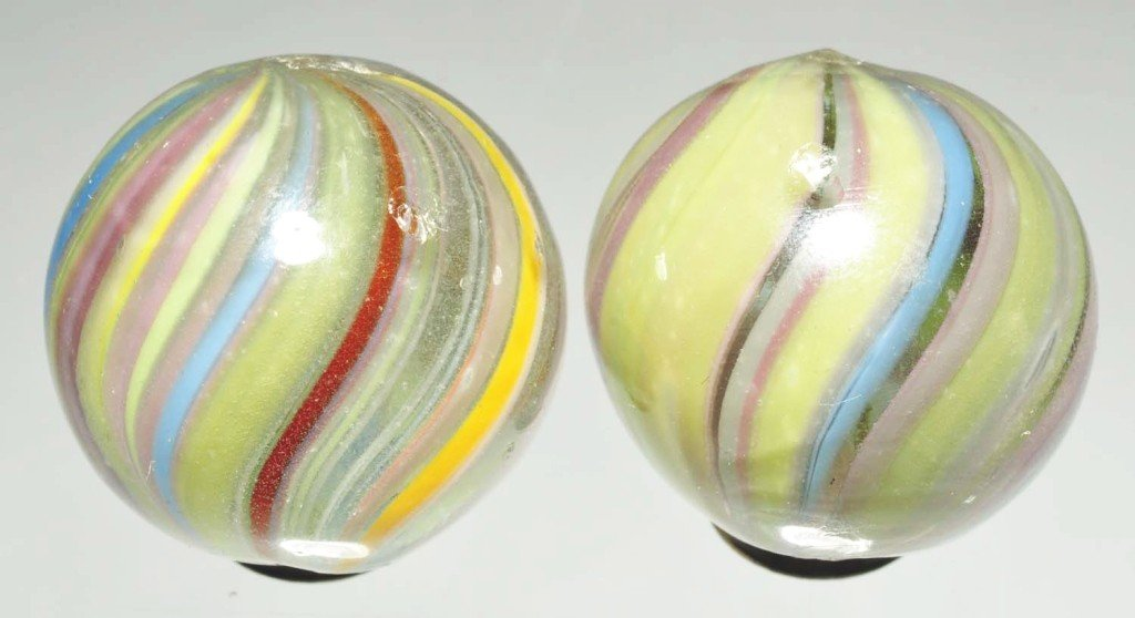 152: Lot of 2: Joseph's Coat Swirl Marbles.
