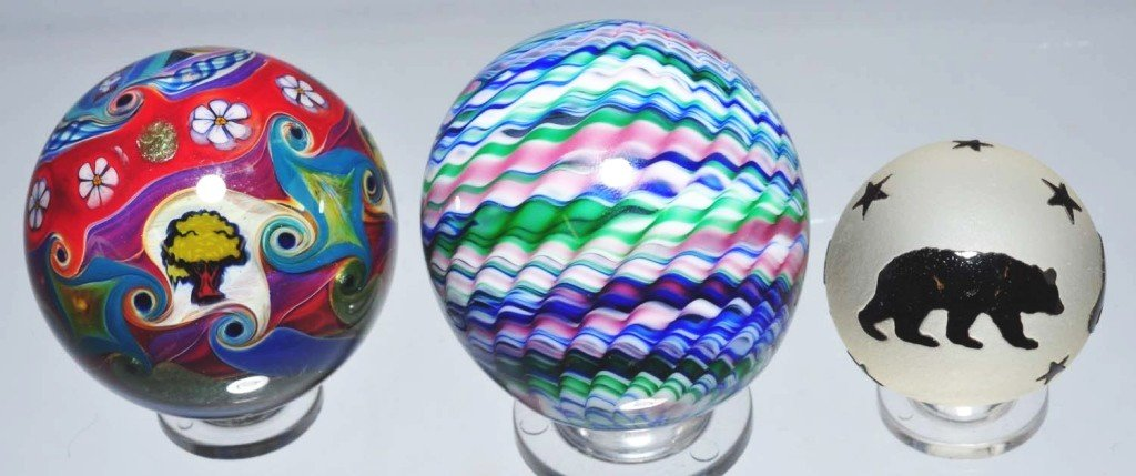 153: Lot of 3: Contemporary Marbles.