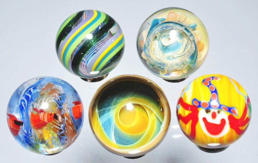 158: Lot of 5: Contemporary Marbles.