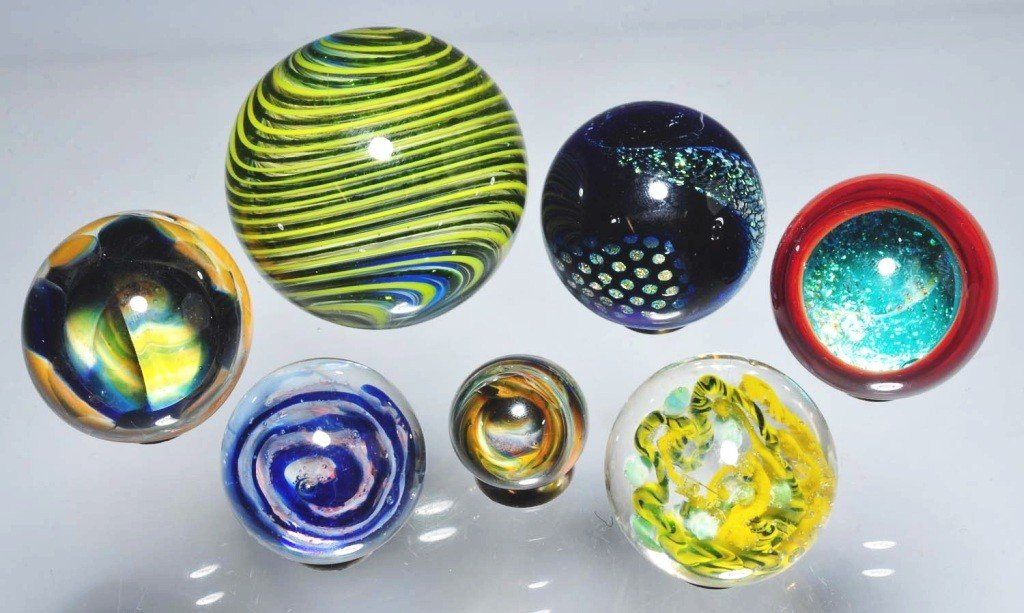 160: Lot of 7: Contemporary Marbles.