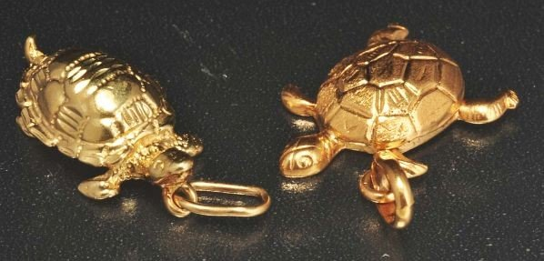 3: Lot of 2: 14K Y. Gold Turtle Charms.