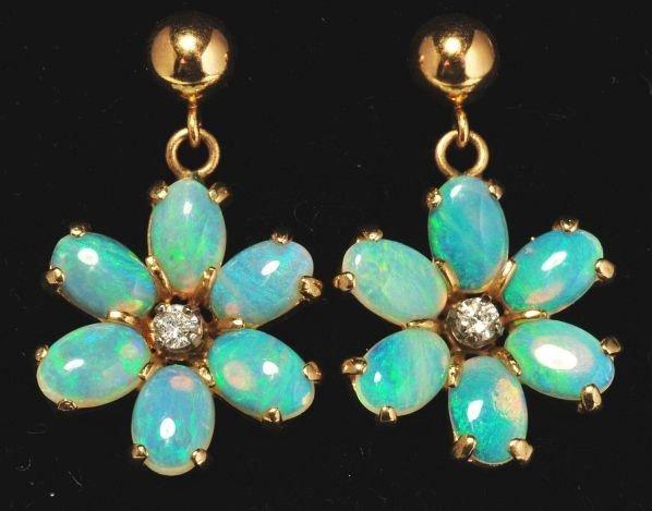 4: Pair of 14K Y. Gold Diamond & Opal Earrings.