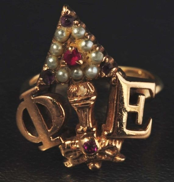13: 14K Y. Gold Seed Pearl & Ruby Fraternity Ring.