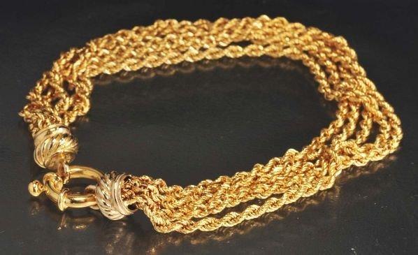 15: 18K Y. Gold 5-Stranded Bracelet.