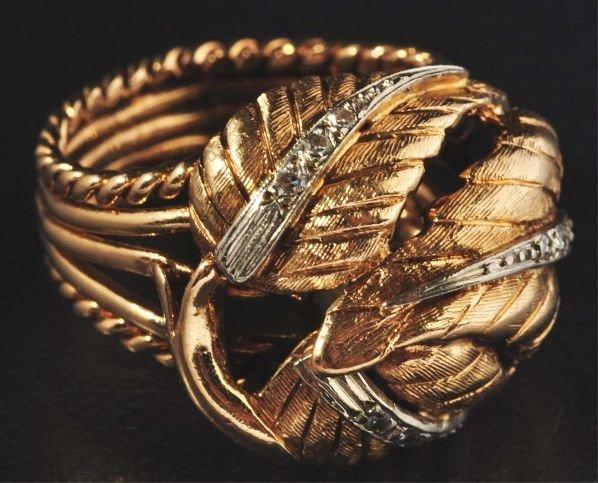22: 14K Y. Gold & Diamond Leaf Ring.