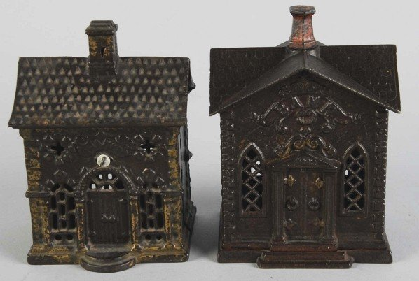 5: Lot of 2: Cast Iron Home Banks.