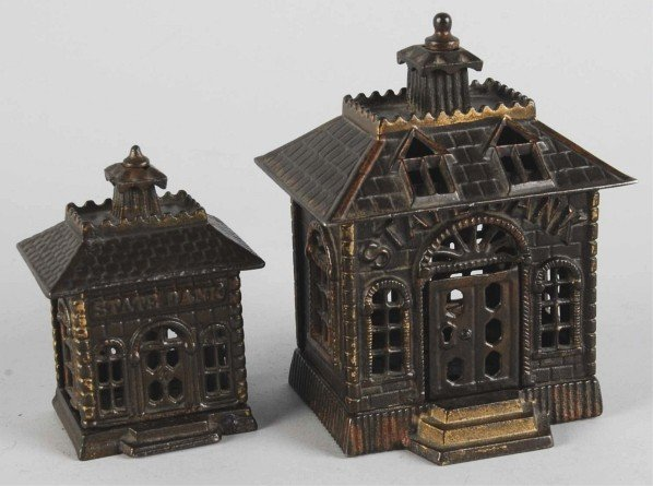 12: Lot of 2: Cast Iron State Building Banks.