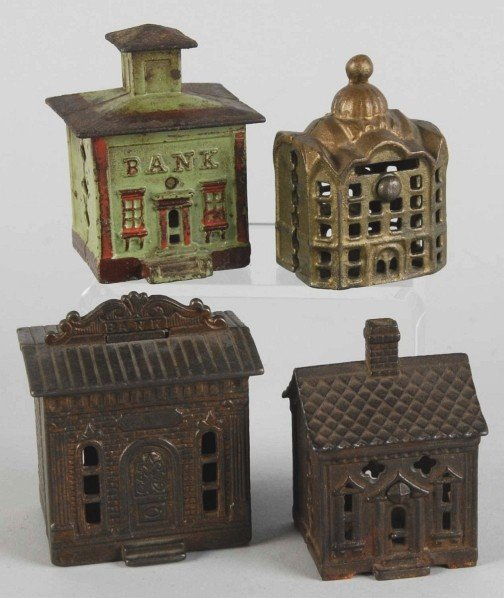 24: Lot of 4: Cast Iron Building Banks.