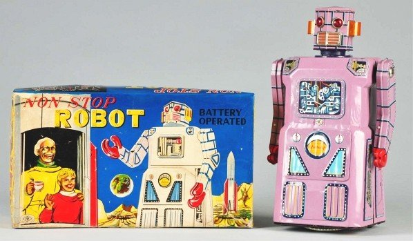 438: Tin Gang of Five Non-Stop Battery-Op Robot Toy.