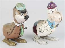 801: Lot of 2: Tin Linemar Character Hopping Toys.