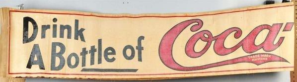 680: Early Canvas Coca-Cola Banner.