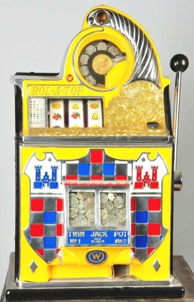 714: 25¢ Foreign Coin Checkerboard Rol-A-Top Machine.
