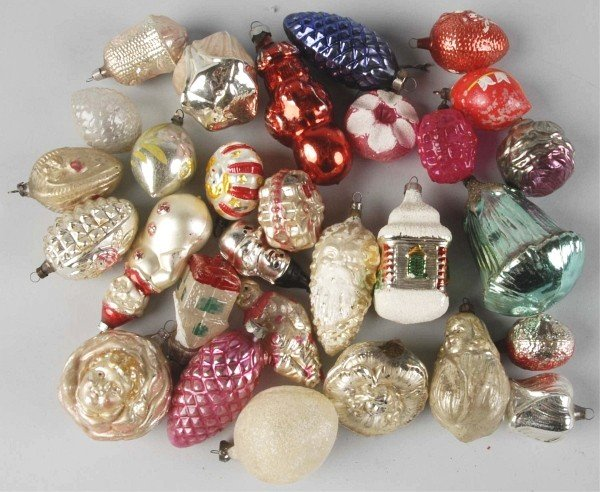 18: Lot of 30: Glass Figural Christmas Ornaments.