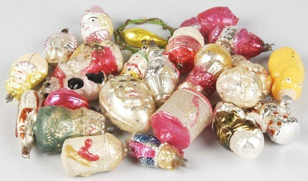 19: Lot of 23+ Figural Glass Christmas Ornaments.