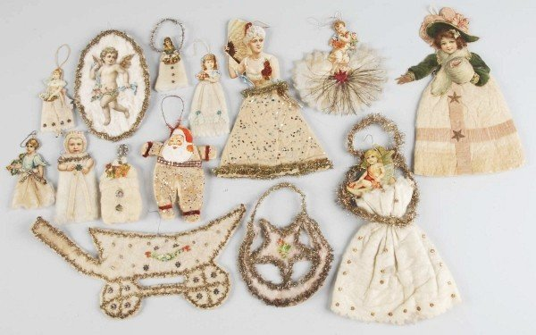 21: Lot of Cotton and Wire Christmas Ornaments.