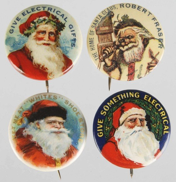 22: Lot of 4: Celluloid Santa Pin Back Buttons.
