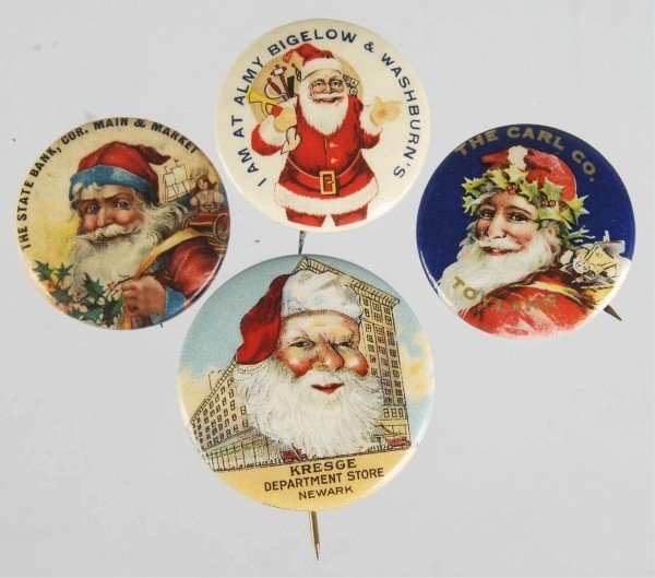 23: Lot of 4: Celluloid Santa Pin Back Buttons.