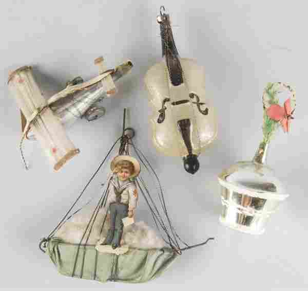 Lot of 4: Glass Christmas Ornaments.
