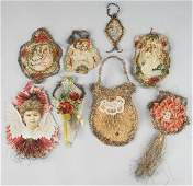 283: Lot of 8: Tinsel and Paper Christmas Ornaments.
