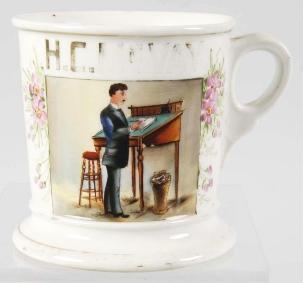 3: Accountant at Desk Shaving Mug.