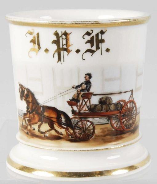 18: Horse-Drawn Wagon with Wooden Kegs Shaving Mug.