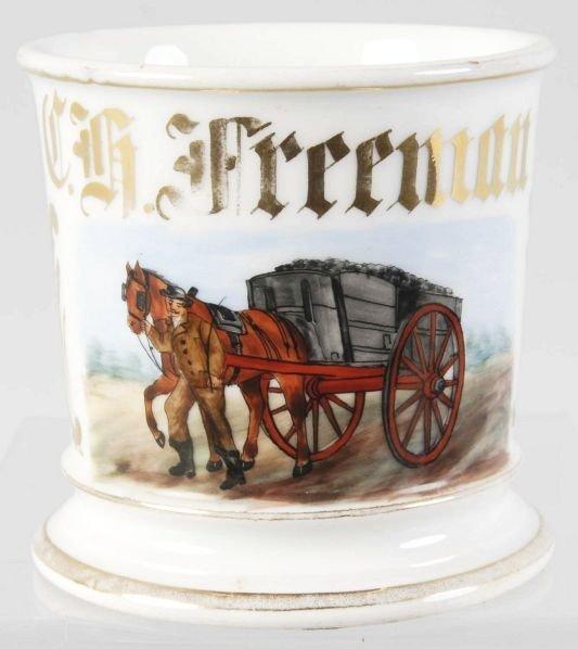 20: Horse-Drawn Wagon with Coal Shaving Mug.