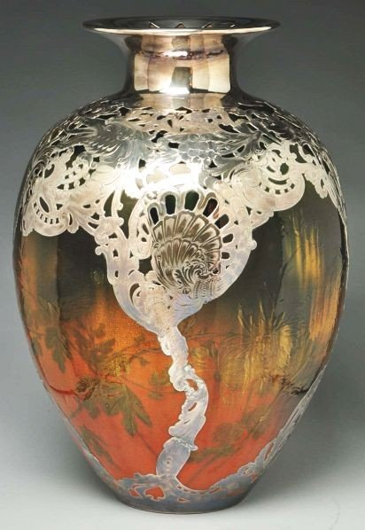 165: Rookwood Vase with Silver Overlay.