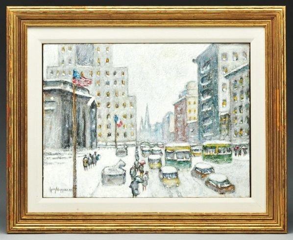 213: Guy C. Wiggins NY Cityscape Snow Scene Painting.