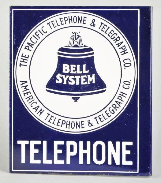 612: Porcelain Bell Telephone Flange Sign.