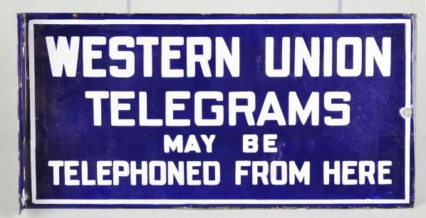 621: Porcelain Western Union Telegrams 2-Sided Sign.