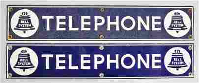 764: Lot of 2: Porcelain Bell Telephone Strip Signs.
