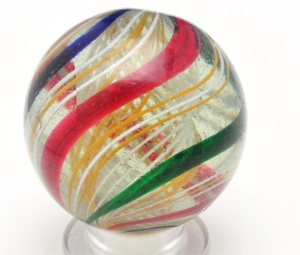 6: Large Bicolor Latticino Marble.