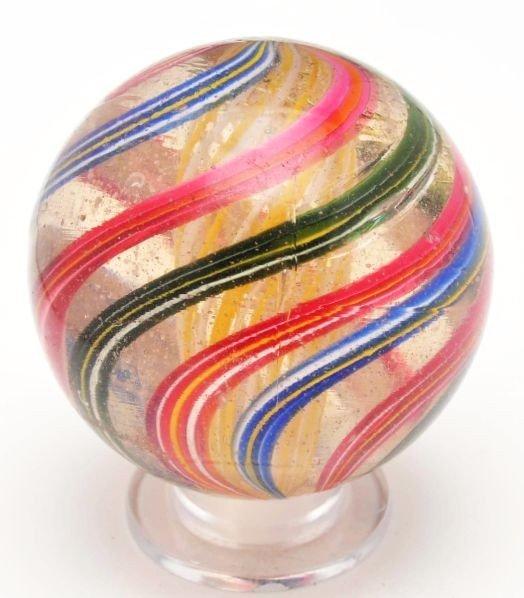 11: Large Bicolor Latticino Swirl Marble.
