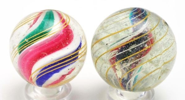 15: Lot of 2: Swirl Marbles.
