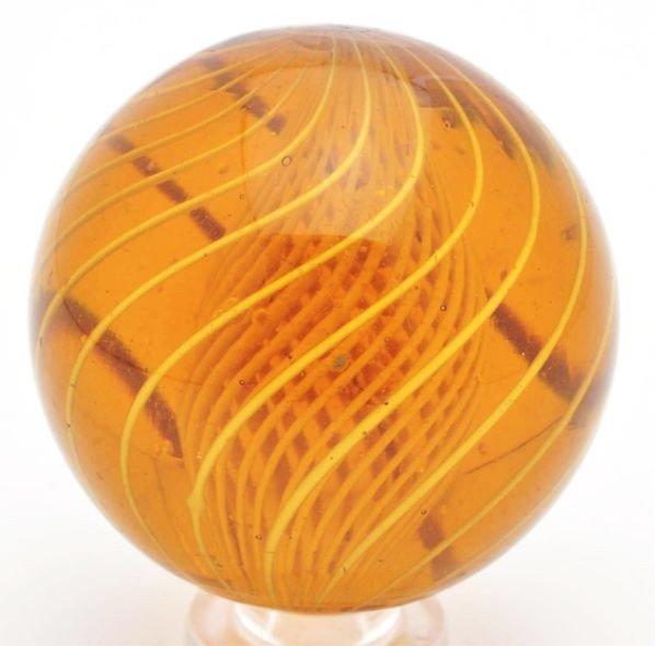 152: Rare Amber Glass Latticino Swirl Marble.
