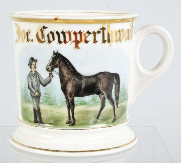 14: Show Horse with Trainer Shaving Mug.
