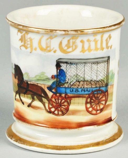 15: Single Horse Drawn US Mail Wagon Shaving Mug.