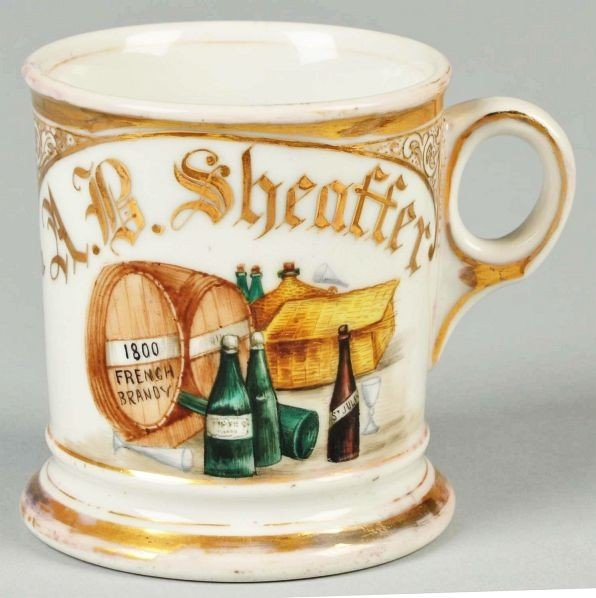 "73: ""1800 French Brandy"" Casks Shaving Mug."
