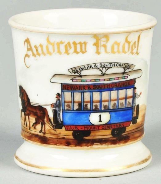 74: Double Horse-Drawn Trolley Shaving Mug.