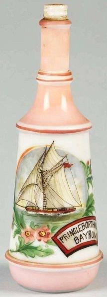 87: Personalized Milk Glass Barber Bottle.