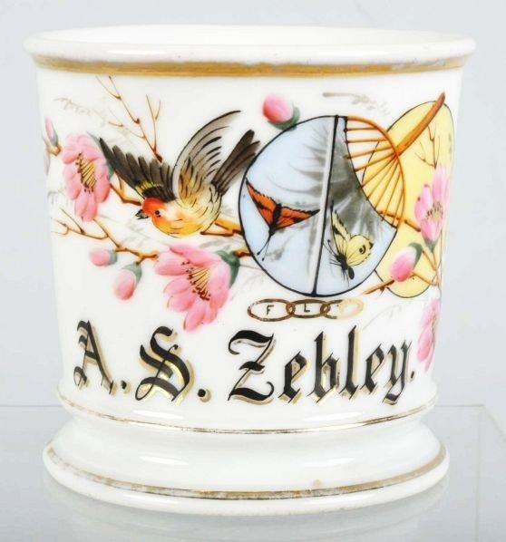 91: Bird & Butterflies Shaving Mug.
