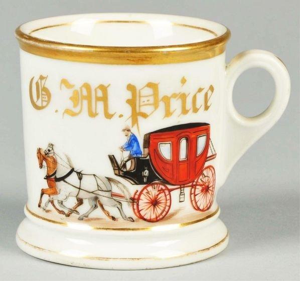 92: Double Horse-Drawn Enclosed Carriage Shaving Mug.