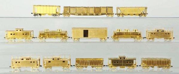 265: Lot of 13: Korean Brass Model Train Cars.