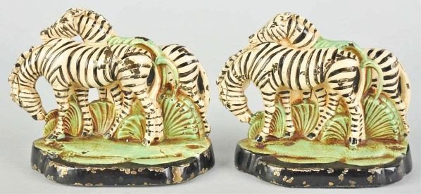 358: Pair of Cast Iron Hubley Zebra Bookends.