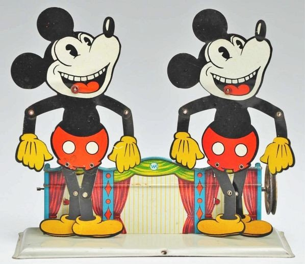566: Rare Disney Mickey Mouse Double Slate Dancer Toy.