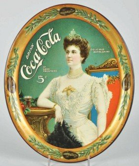 1019: 1905 Coca-Cola Serving Tray with Glass.