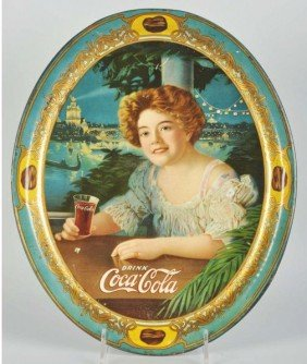 1021: 1909 Coca-Cola Large Oval Serving Tray.